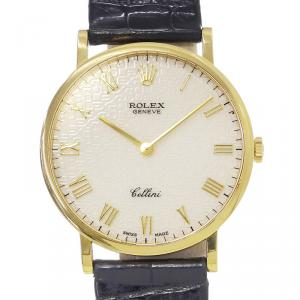 Rolex Off-White 18K Yellow Gold Cellini Men's Wristwatch 32MM