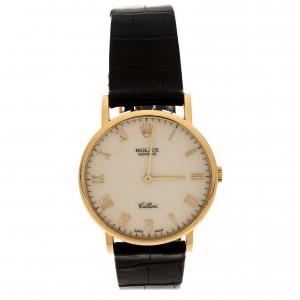 Rolex Cream 18K Yellow Gold Cellini 5112 Men's Wristwatch 32 mm