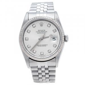 Rolex Silver Stainless Steel Diamonds Datejust 16234 Men's Wristwatch 36 mm