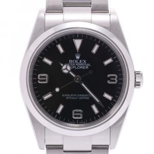 Rolex Black Stainless Steel Explorer 1 114270 Automatic Men's Wristwatch 35 MM