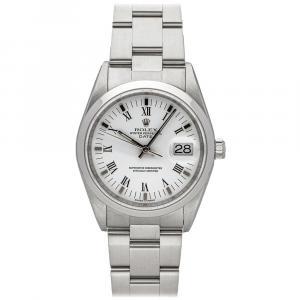ساعة يد رجالية رولكس أويستر بربتوال ديت 15200  ستانلس ستيل بيضاء 34 مم