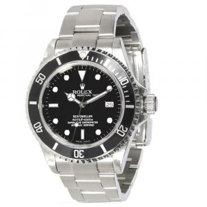 ساعة يد رجالية رولكس سيدويلر 16600 ستانلس ستيل سوداء 40 مم