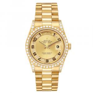Rolex Champagne Myriad Diamonds 18K Yellow Gold President Day-Date 18388 Men's Wristwatch 36 MM