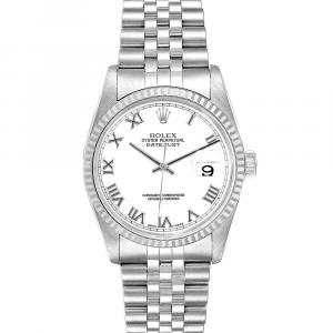 Rolex White 18K White Gold And Stainless Steel Datejust 16234 Automatic Men's Wristwatch 36 MM