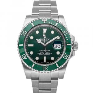 Rolex Green Ceramic And Stainless Steel Submariner Hulk 116610LV Men's Wristwatch 40 MM