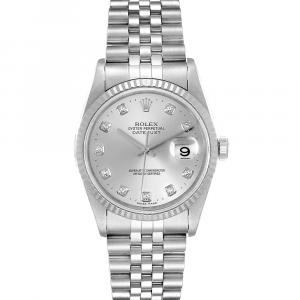 Rolex Silver Diamonds 18K White Gold And Stainless Steel Datejust 16234 Men's Wristwatch 36 MM