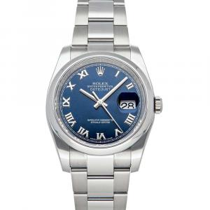 Rolex Blue Stainless Steel Datejust 116200 Men's Wristwatch 36 MM