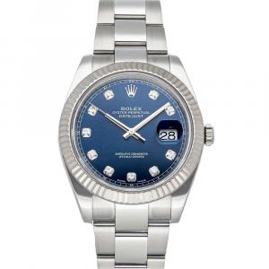 Rolex Blue Diamonds 18K White Gold And Stainless Steel Datejust 126334 Men's Wristwatch 41 MM