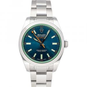 Rolex Blue/Green Stainless Steel Milgauss Automatic 116400GV Men's Wristwatch 40 MM