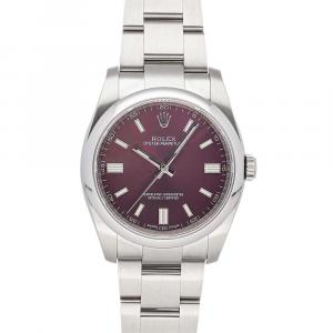 Rolex Red Grape Stainless Steel Oyster Perpetual 116000 Men's Wristwatch 36MM