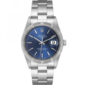 Rolex Blue Stainless Steel Date 15210 Men's Wristwatch 34 MM