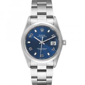 Rolex Blue Stainless Steel Date 15200 Men's Wristwatch 34 MM