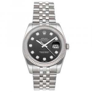 Rolex Black Diamonds 18K White Gold And Stainless Steel Datejust 116234 Men's Wristwatch 36 MM