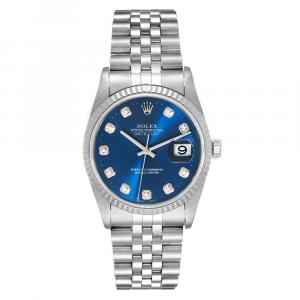 Rolex Blue Diamonds 18K White Gold And Stainless Steel Datejust 16234 Men's Wristwatch 36 MM
