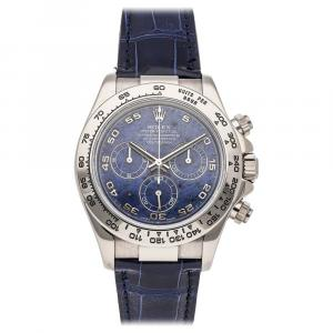 Rolex Blue 18K White Gold Cosmograph Daytona 116519 Men's Wristwatch 40 MM