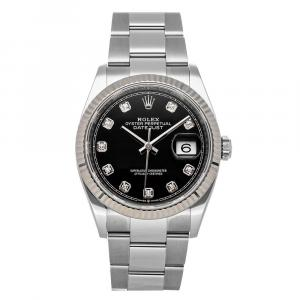 Rolex Black Diamonds Stainless Steel Datejust 126234 Men's Wristwatch 36 MM