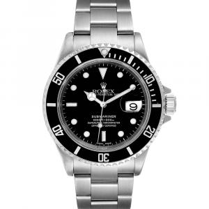 Rolex Black Stainless Steel Submariner Automatic 16610 Men's Wristwatch 40 MM