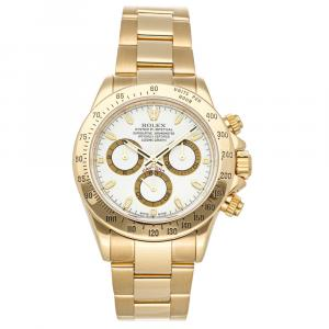 Rolex White 18K Yellow Gold Cosmograph Daytona 116528 Men's Wristwatch 40 MM