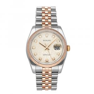 Rolex Silver Diamonds 18K Rose Gold And Stainless Steel Datejust 116231 Men's Wristwatch 36 MM