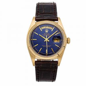 Rolex Blue 18K Yellow Gold Day-Date 1803 Men's Wristwatch 36 MM