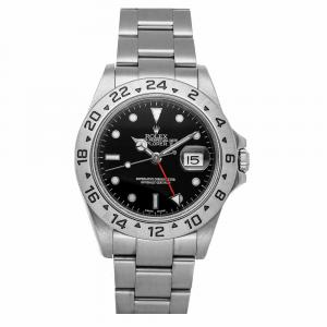 Rolex Black Stainless Steel Explorer II 16570 Men's Wristwatch 40 MM