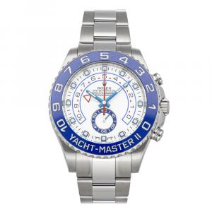 Rolex White Stainless Steel Yacht-Master II 116680 Men's Wristwatch 44 MM