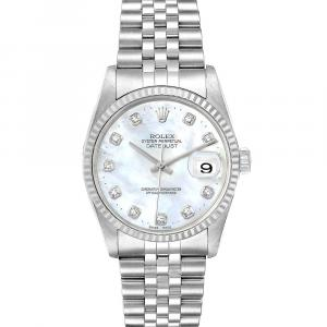 Rolex MOP Diamonds 18K White Gold And Stainless Steel Datejust 16234 Men's Wristwatch 36 MM
