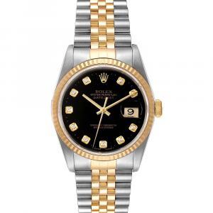 ساعة يد رجالية رولكس ديت جست 16233   ذهب أصفر عيار 18 وستانلس ستيل سوداء 36 مم