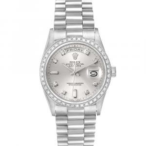 Rolex Silver Diamonds Platinum President Day-Date 18046 Men's Wristwatch 36 MM