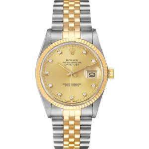 Rolex Champagne Diamonds 18K Yellow Gold And Stainless Steel Datejust 16013 Men's Wristwatch 36 MM