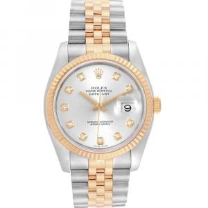 Rolex Silver Diamonds 18K Yellow Gold And Stainless Steel Datejust 116233 Men's Wristwatch 36 MM