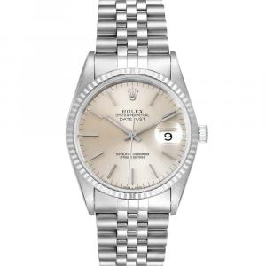 Rolex Silver 18K White Gold And Stainless Steel Datejust 16234 Men's Wristwatch 36 MM