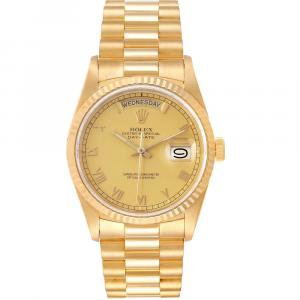 Rolex Champagne 18K Yellow Gold President Day-Date 18238 Men's Wristwatch 36 MM