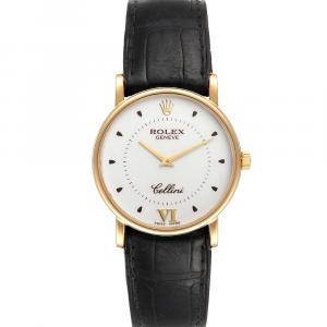 Rolex Silver 18K Yellow Gold Cellini Classic 5115 Men's Wristwatch 32 MM