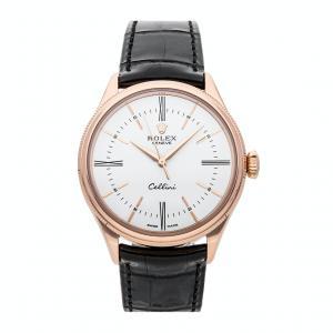 Rolex White 18K Rose Gold Cellini Time 50505 Men's Wristwatch 39 MM
