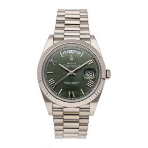 Rolex Green 18K White Gold Day-Date 228239 Men's Wristwatch 40 MM