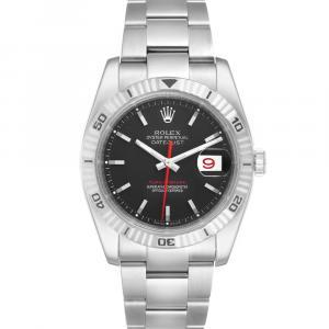 Rolex Black Stainless Steel Datejust Turnograph 116264 Men's Wristwatch 36 MM