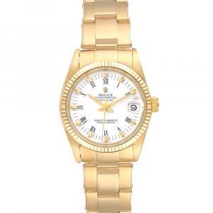 Rolex White 18K Yellow Gold Datejust 6827 Men's Wristwatch 31 MM