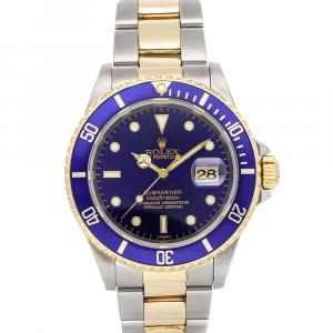 Rolex Blue 18K Yellow Gold And Stainless Steel Submariner Date 16613 Men's Wristwatch 40 MM