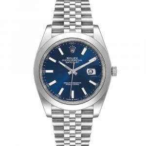 Rolex Blue Stainless Steel Datejust 126300 Automatic Men's Wristwatch 41 MM