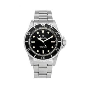 Rolex Black Stainless Steel Vintage Submariner 5513 Men's Wristwatch 40 MM