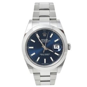 Rolex Blue Stainless Steel Datejust 41 126300 Automatic Men's Wristwatch 41 mm