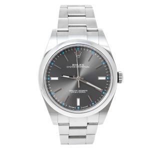 ساعة يد رجالية رولكس أويستر بربتوال أم114300-0001 أوتوماتيك ستانلس ستيل رمادي 39 مم