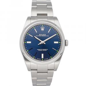 Rolex Blue Stainless Steel Oyster Perpetual 114300 Men's Wristwatch 39 MM