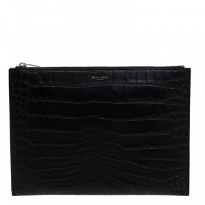 Saint Laurent Black Croc Embossed Zipped Tablet Holder