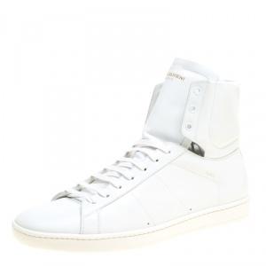 Saint Laurent Paris Optic White Leather Signature Court Classic SL/01H High Top Sneakers Size 43