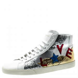 Saint Laurent Paris Tricolor Leather And Coarse Glitter Love High Top Sneakers Size 43.5