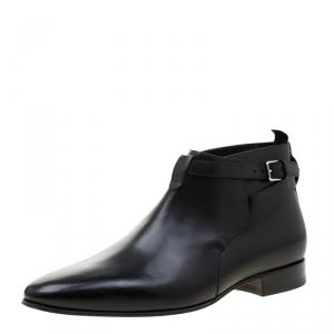 Saint Laurent Paris Black Leather Jodhpur Chelsea Boots Size 43.5