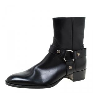Saint Laurent Black Leather Harness Ankle Boots Size 41