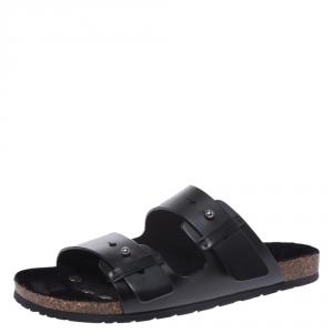 Saint Laurent Paris Black Leather Jimmy 2 Bridle Slide Sandals Size 41